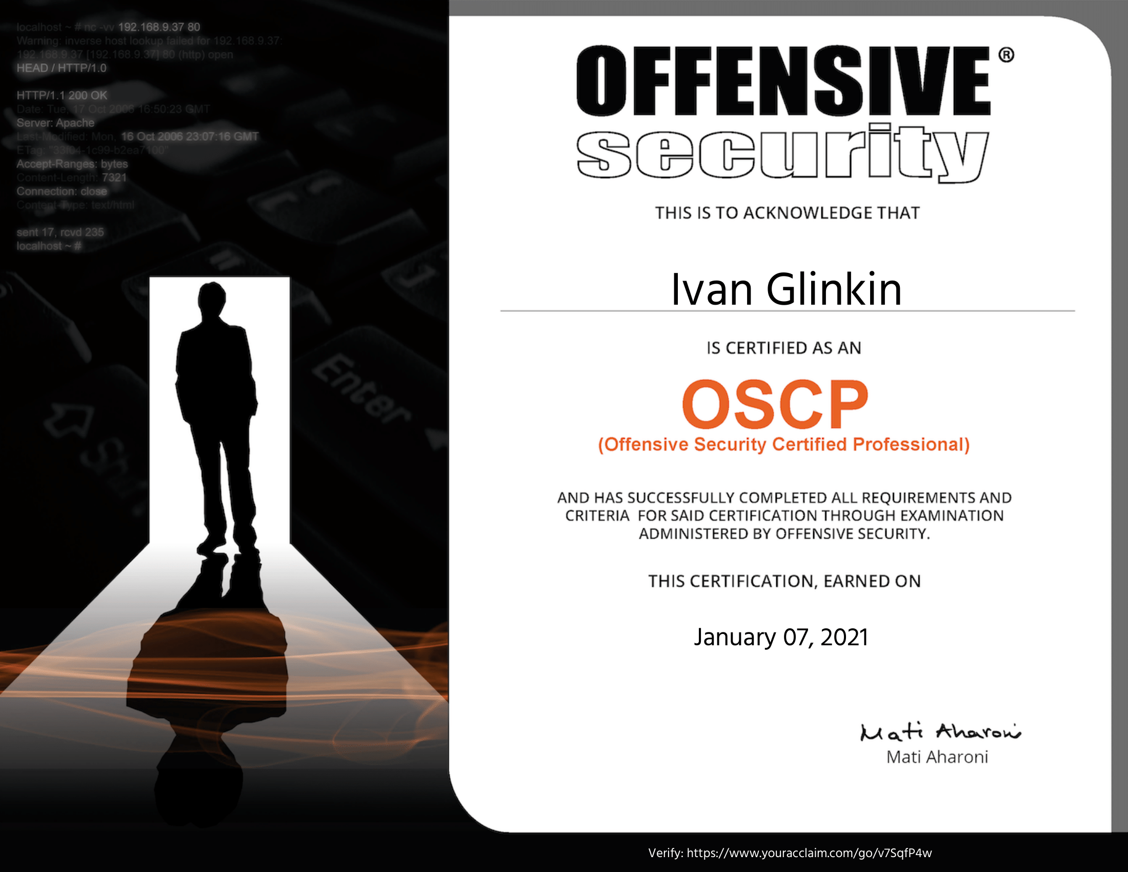 Offensive Security Certified Professional OSCP Certificate Ivan Glinkin